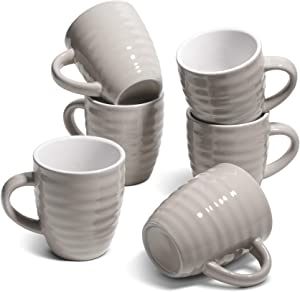 ComSaf Ceramic Coffee Mugs Set of 6, 15 oz Large Coffee Mug Tea Cup for Office Home, Porcelain Mug with Handle for Cocoa Cappuccino Cereal, Novelty Mug as Christmas, Gray