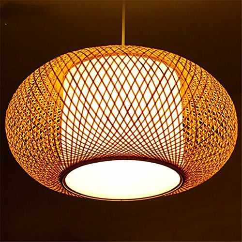 Lustre lanterne bambou pastoral simple suspension. 40 * 20cm, vraies couleurs