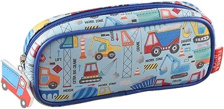 Construction Trucks Equipment 9 x 4 inch Vinyl Zip Top Pencil Case Pouch