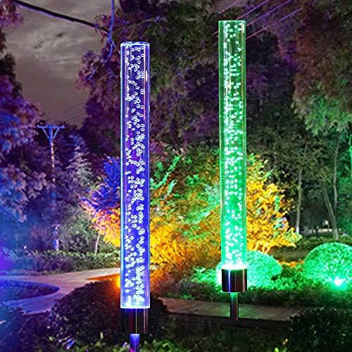 Vingtank 2 Stück Solarleuchte Garten Landschaftslichter, Acryl Blase Außenleuchte LED Solar Tube Lichter RGB Farbwechsel Solarlampen, LED Solar Leuchtstäbe für Terrasse Hinterhof Pathway Dekoration