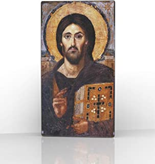 Artel Russ Sinai Jesus Christ Pantocrator Russian Religious Icon Canvas Decor on Wood
