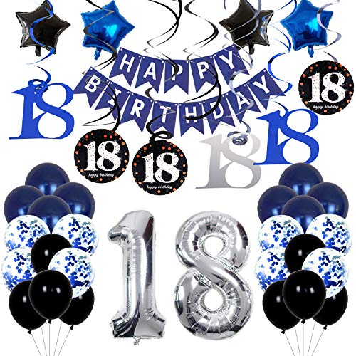 18th Birthday Decorations for Boys and Girls Dark Blue, HAPPY BIRTHDAY Banner Sliver Number 18 Balloons, Deep Blue Theme Party for Him - 18 Years Old Birthday Party Supplies Kit for Her