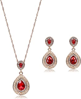 Best red stone pendant set Reviews