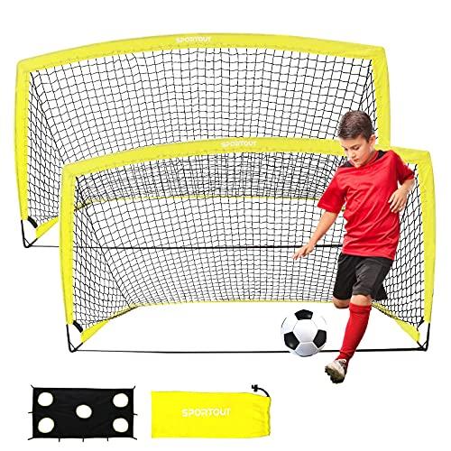Sportout Tragbares Fußballtor, Training Fußballnetz für den Hinterhof, Garten, Innen, Halle, Training, Übungstore (1.9x1.1x1.1m, (2pack)