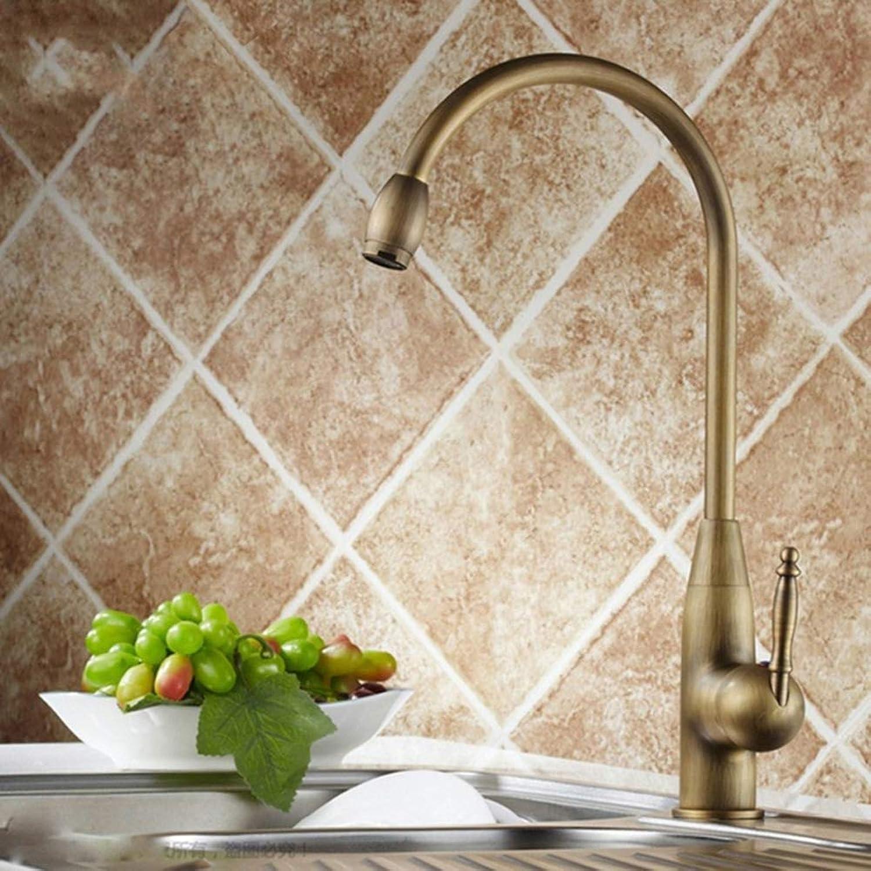 Kitchen Faucet Solid Brass 360 Degree redation Retro Style Kitchen Sink Mixer Taps,Brass