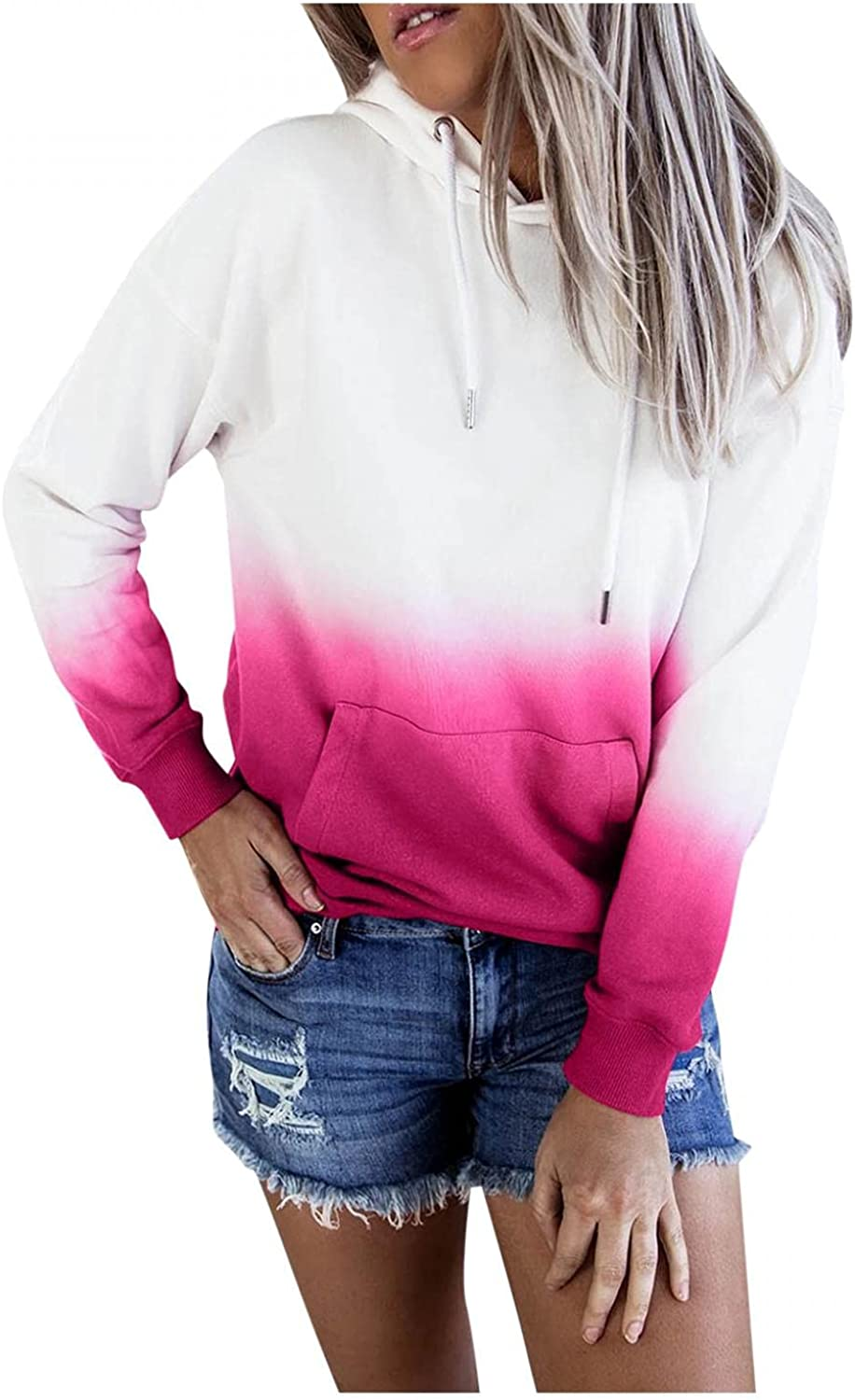 Oiumov Hoodies for Women Pullover Graphic Plus Size Crewneck Sweatshirts Long Sleeve Loose Hooded Tops Sweater Shirts