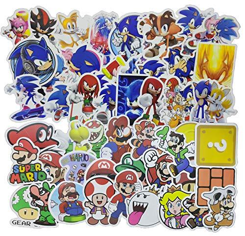 Sonic Super Mario Aufkleber 100PCS Zeichentrickfigur Super Mario Aufkleber Diy Dekoration Laptop Gepäck Helm Wasserbecher Kühlschrank Gitarre Skateboard