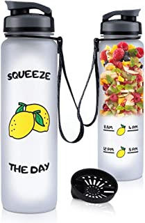 COSCOD Motivational Water Bottle with Time Marker Tracker, Funny Friend Gift, BPA Free Loop Top Radian Tritan Shaker Bottle, 32 Oz, for Fitness and Outdoor Sports, Leakproof and Durable