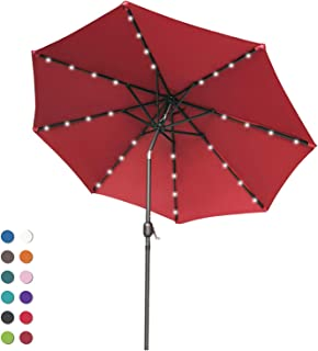 ABCCANOPY Patio Umbrella Ourdoor Solar Umbrella LED Umbrellas with 32LED Lights, Tilt and Crank Table Umbrellas for Garden, Deck, Backyard and Pool,12+Colors, (Burgundy)
