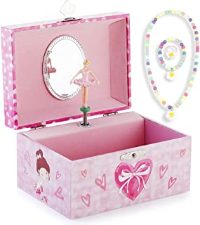 RR ROUND RICH DESIGN Kids Musical Jewelry Box for Girls and Jewelry Set with Pretty Girl Theme - Beautiful Dream Tune Pink