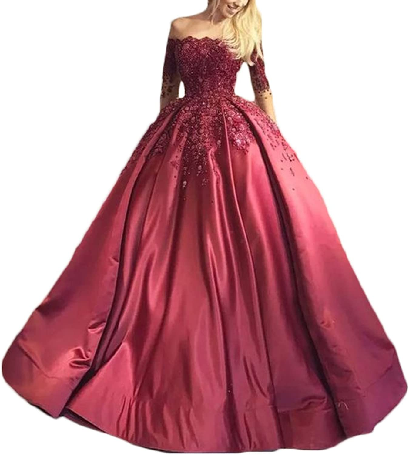 Ri Yun Off Shoulder Appliques Beaded Long Sleeves Ball Gown Quinceanera Dresses Formal Evening Party Gowns for Women 2018