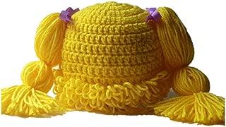 BIBITIME Knitted Pigtail Wig Beanie Handmade Women Girl's Braid Hat Bowknot Cap