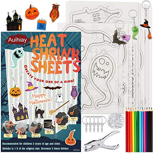 Auihiay 145 Pieces Halloween Heat Shrink Plastic Sheet Kit Include 8 Shrinky Art Paper with Halloween Patterns, 4 Blank Shrink Film Papers, Hole Punch, Keychains, Pencils for Kids DIY Creative Craft
