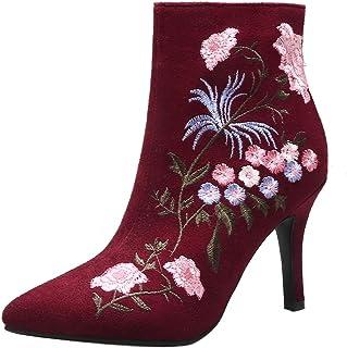 JOJONUNU Women Fashion Dress Booties Stiletto Heels Zipper