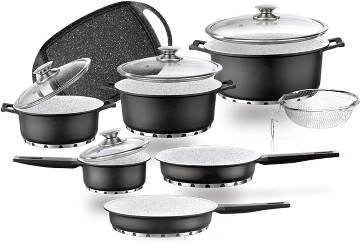 Batería de cocina Profesional de Titanio con Fondo de Piedra Completa