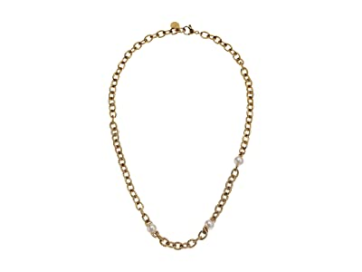 Majorica 8 mm Modern Metal Round Multi Pearl Chain Necklace (Yellow) Necklace