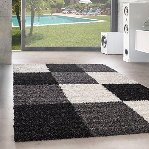 Unbekannt Shaggy Hochflor Langflor Teppich Wohnzimmer Carpet Farben & Formen Karo Kariert!, Größe:200x290 cm, Farbe:Black