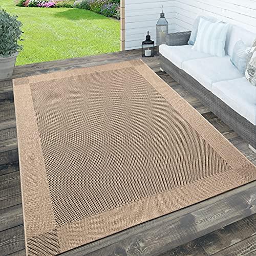 Paco Home In- & Outdoor Teppich, Terrasse u. Balkon, Wetterfest Einfarbig m. Struktur, Grösse:120x170 cm, Farbe:Natur