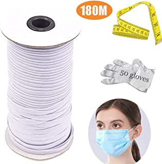 Nifogo Cordón Elástico Cordón de Goma 3mm Ancho, Cinta El
