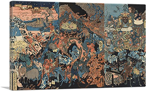 "ARTCANVAS Ghosts, Devils and The King of Hell Canvas Art Print by Utagawa Kuniyoshi - 40"" x 26"" (0.75"" Deep)"
