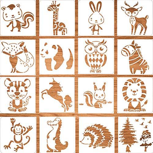 16 Stück Tiermalerei Schablone,Malschablonen Tiere für Kinder/Erwachsene aus Kunststoff,Schablonen Wiederverwendbar Vintage,Zeichnung Malerei Vorlage