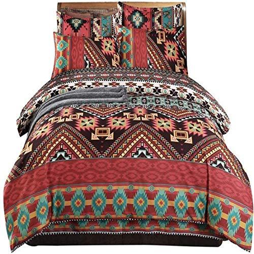zzkds Boho-Bettbezug-Set, ethnisch, exotisch, böhmisch, gestreifte Tagesdecke, Mikrofaser, Aztekenmuster, Bettdeckenbezug, mit 2 Kissenbezügen, bunter Reißverschluss, Super King Size