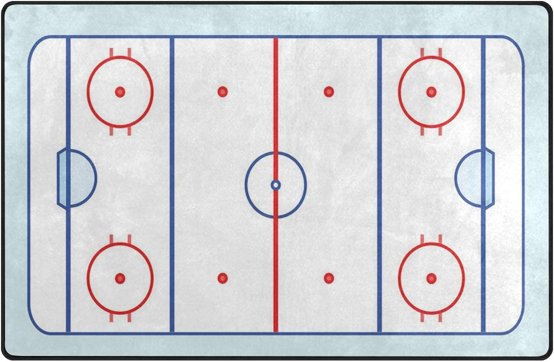 YOLIKA Non-Slip Many popular brands Area Rugs Ice Hockey and Field Tones in Red Sale Blue