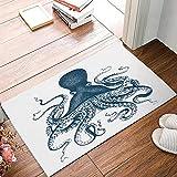 DQLREW Felpudo 3D impresión Alfombra Sea Creatures Octopus Sea Life Alfombras de Puerta Azul náutico Piso de Cocina Alfombra de Entrada de baño Alfombra Absorbente de Goma baño interior-24x36inch
