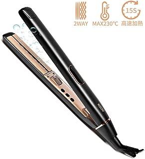 ヘアアイロン ストレートヘアアイロン ストレート カール 両用 ダブルマイナスイオン 100-230℃ 温度調節 LCDディスプレイ 自動OFF 海外対応 プロ仕様