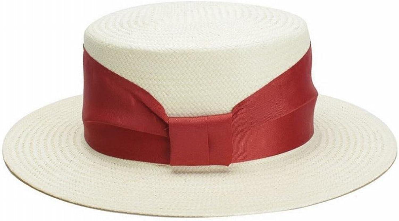 Flattop Straw hat Female European and American Simple White Sunshade red Ribbon Sunscreen Sun hat Beach hat,A,M SLR