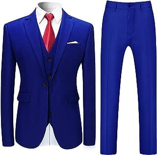 Mens Slim Fit 3-Piece Suits Solid Color Classic Fit One Button Blazer Tux Vest & Pants