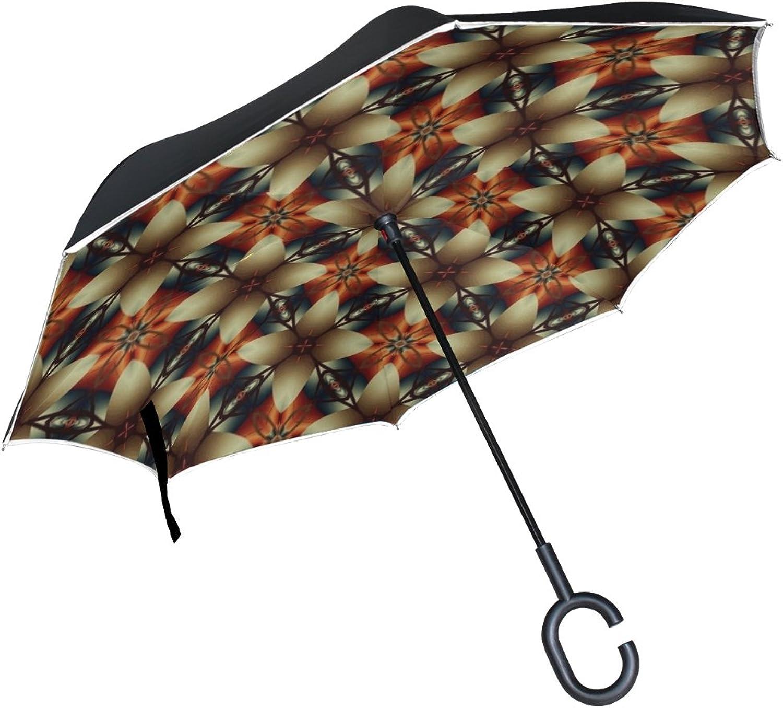 Double Layer Ingreened Kaleidoscope Image Pattern Digital Umbrellas Reverse Folding Umbrella Windproof Uv Predection Big Straight Umbrella for Car Rain Outdoor with CShaped Handle