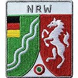 2 x NRW Patch gestickt 60 x 68 mm, Aufnäher Aufbügler, Bügelflicken / Nordrhein-Westfalen Deutschland Wappen Flagge / Patches Applikation aufnähen aufbügeln auf Kleidung Tasche Cap Rucksack
