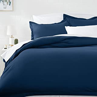 AmazonBasics Microfiber Duvet Cover Set - King, Navy Blue - with 2 pillow covers