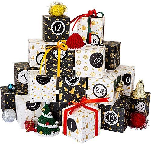Kesote Adventskalender zum Befüllen Schachteln 24 Boxen Weihnachten Kisten Geschenkboxen Schwarz Weiß Karton mit 24 Zahlenaufkleber zum Basteln und Aufstellen Weihnachten Deko Kinder