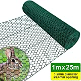 Amagabeli 1M x 25M Grillage à Poule Cloture Jardin 25.4mm RAL6005 PVC Maille Fine Hexagonal Grillage poulailler Hexagonal Grillage Triple Torsion Bordures Jardin Grillage Voliere HC05