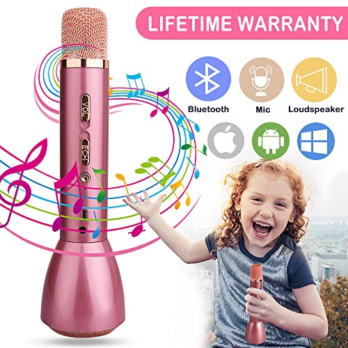 Kids Microphone, Karaoke Microphones for Kids Wireless Singing Microphone with Bluetooth Speaker Portable Handheld Childrens Mic Karaoke Machine for Music Playing KTV Home Party Support iOS Android