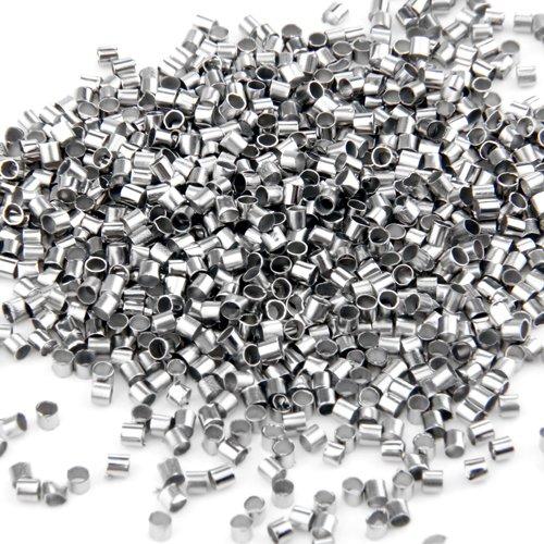 Ecloud Shop® 3 pieces 1000 Stk. 2mm versilbert Quetschröhrchen Quetschperlen CHARMS