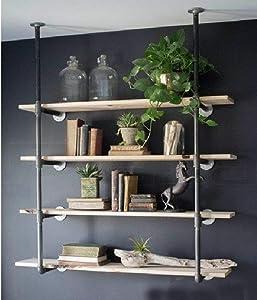 WGX Design For You Industrial Retro Wall Mount Iron Pipe Shelf Hung Bracket DIY Storage Shelving Bookshelf (Custom Made)