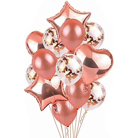 Party Propz 13Pcs Rose Gold Rubber Balloons Combo For Birthday Decoration Items For Kids, Girls , Wife