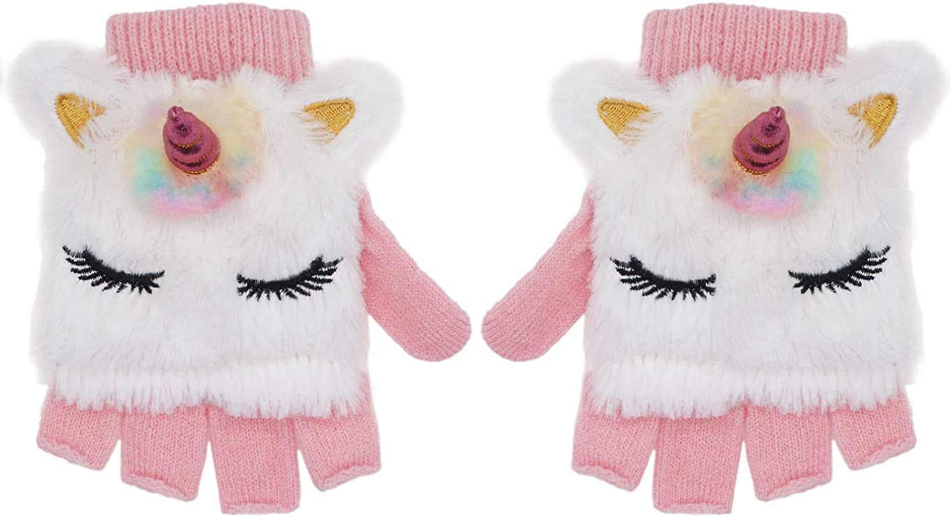 Kids Unicorn Flip Top Bombing free Super beauty product restock quality top! shipping Gloves with Cover Mitten Winter Fi Knitted