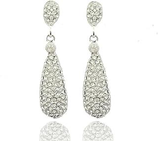 Moonstruck Costume Jewelry Chandelier Diamond Studded Metal Drop and Dangle Earrings for Women (Silver)