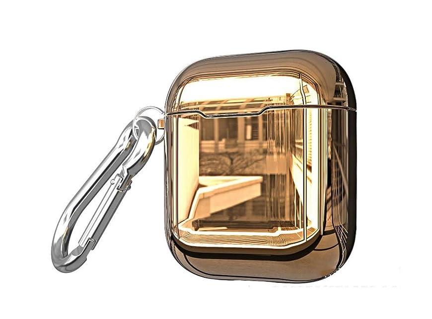 ピボット思いやりのあるアーティファクト適当なAirpods2電気メッキTPUケース、Bluetoothワイヤレスヘッドセットポータブルアンチドロップ収納ボックス (Color : Gold)