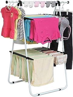 JIAYING Séchoirs à linge Vêtements en métal Etendoir, rack Space-Saving Blanchisserie, Les vêtements pliables sécher le li...