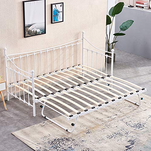 BOJU White 3FT Single Day Bed with Trundle Twin Size Bed Frame Space Saving for Kids Bedroom Guest Room Metal Bedstead Victorian Style Sofa Bed Frame