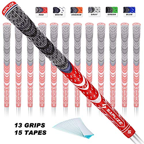 SAPLIZE Golf Grips 13 Pack with Free Tapes Bundle, Cord Rubber Golf Club Grips, Standard Size, Red