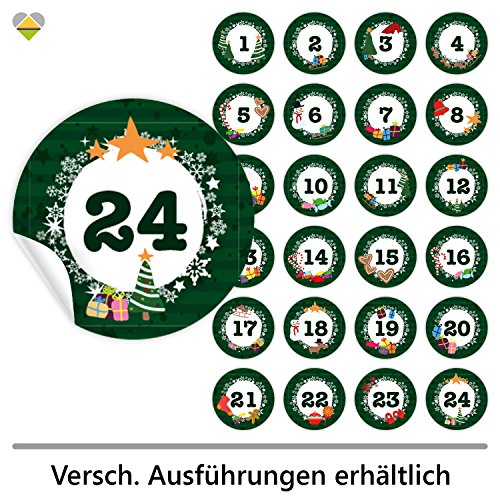 24 Adventskalender-Zahlen (Aufkleber Etiketten Sticker) | Romantic Snow Dekor | Schrift: Butterkeks | Rund | M » Ø 40 mm | Tannen-Grün | F00013-05
