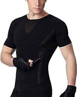 Mens Slimming Shapewear with Zipper Shirt Top Body Shaper Net Nylon Compression T-Shirts