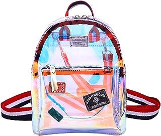 Queena Holographic Backpack Clear PVC Shoulder Handbags Mini Daypack Cosmetic Bag, Transparent (Transparent) - bb-03886-01QY