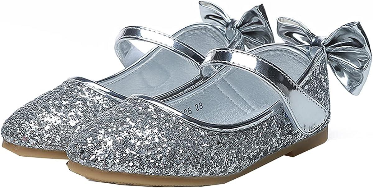 JOEupin Girls Glitter Flats Adorable Dress Shoes Princess Wedding Party Sequin Shoes for Kids Toddler